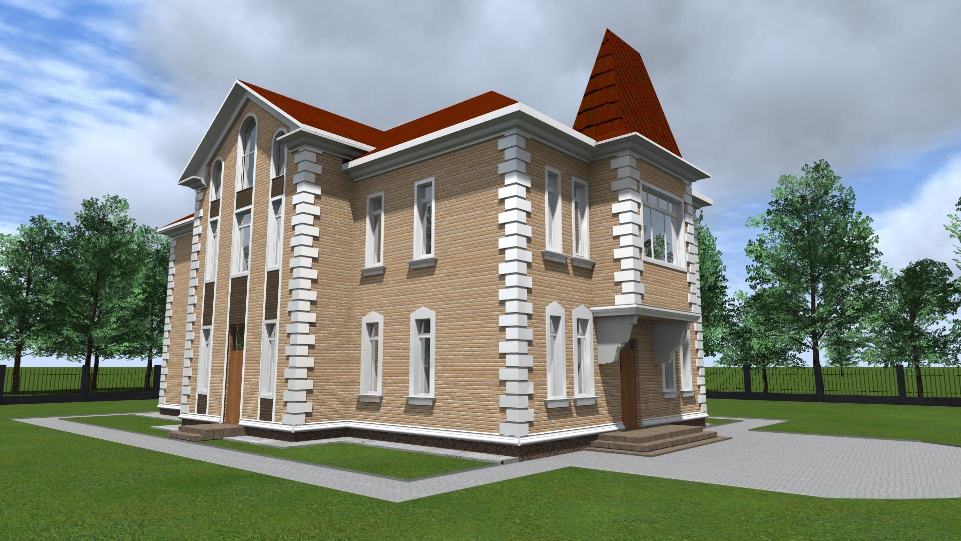 Кирпичный 3-х этажный дом